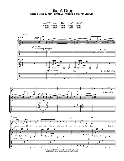 Queens Of The Stone Age Like A Drug sheet music notes and chords. Download Printable PDF.