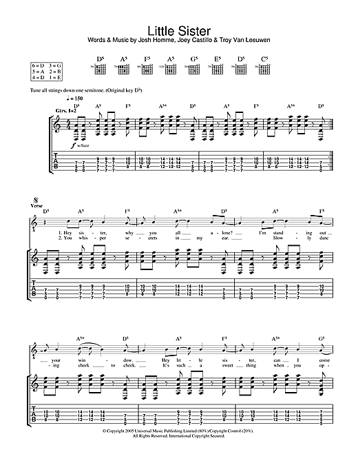 Queens Of The Stone Age Little Sister sheet music notes and chords. Download Printable PDF.
