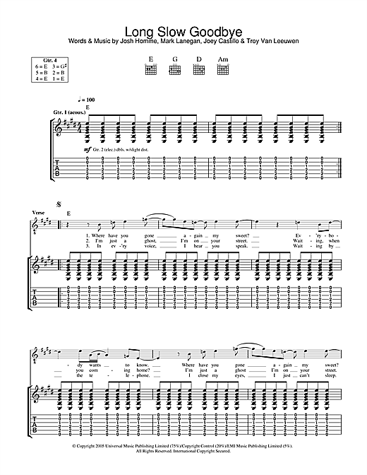 Queens Of The Stone Age Long Slow Goodbye sheet music notes and chords. Download Printable PDF.