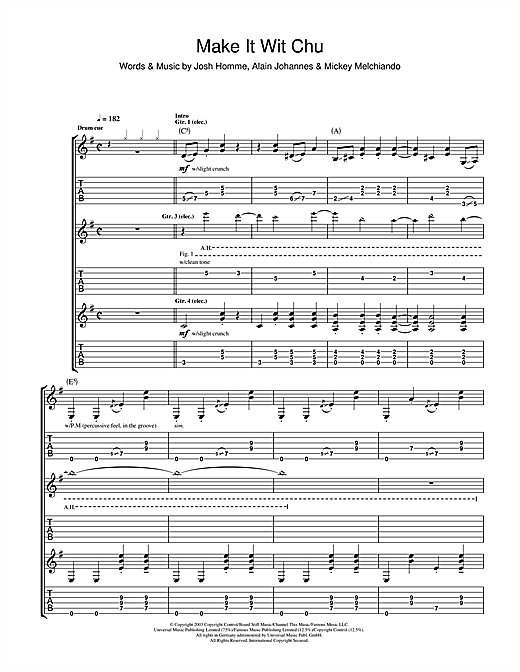 Queens Of The Stone Age Make It Wit Chu sheet music notes and chords