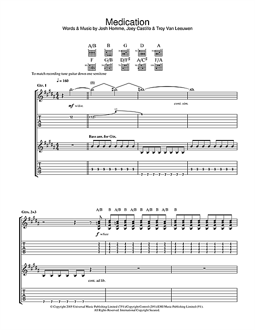Queens Of The Stone Age Medication sheet music notes and chords. Download Printable PDF.