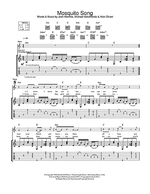 Queens Of The Stone Age Mosquito Song sheet music notes and chords. Download Printable PDF.