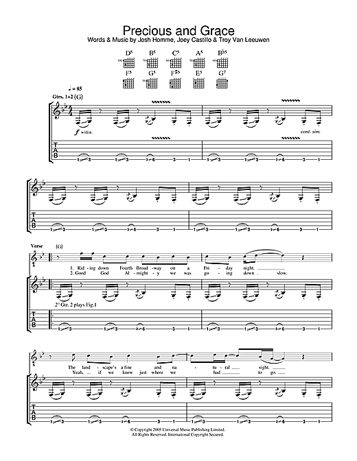 Queens Of The Stone Age Precious And Grace sheet music notes and chords. Download Printable PDF.