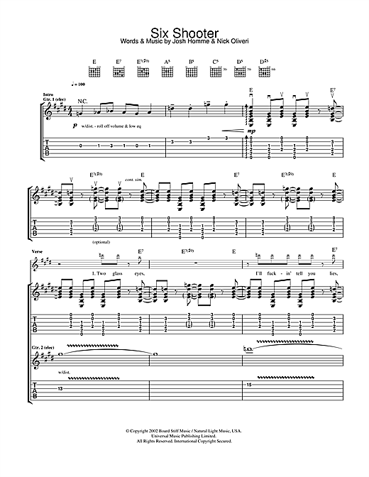Queens Of The Stone Age Six Shooter sheet music notes and chords. Download Printable PDF.