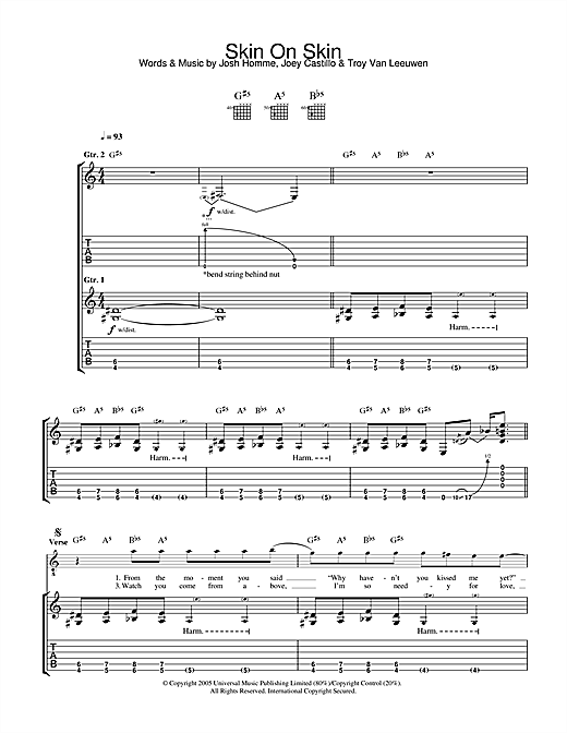 Queens Of The Stone Age Skin On Skin sheet music notes and chords. Download Printable PDF.