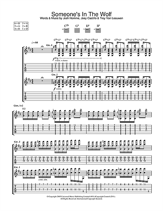 Queens Of The Stone Age Someone's In The Wolf sheet music notes and chords. Download Printable PDF.