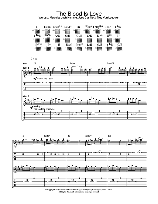Queens Of The Stone Age The Blood Is Love sheet music notes and chords. Download Printable PDF.