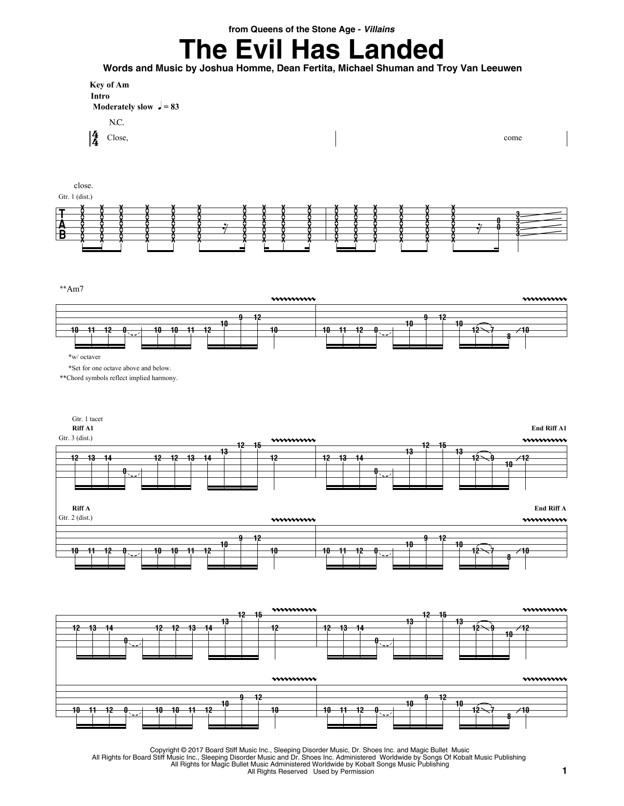 Queens Of The Stone Age The Evil Has Landed sheet music notes and chords. Download Printable PDF.