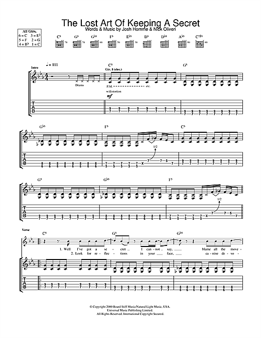 Queens Of The Stone Age The Lost Art Of Keeping A Secret sheet music notes and chords. Download Printable PDF.
