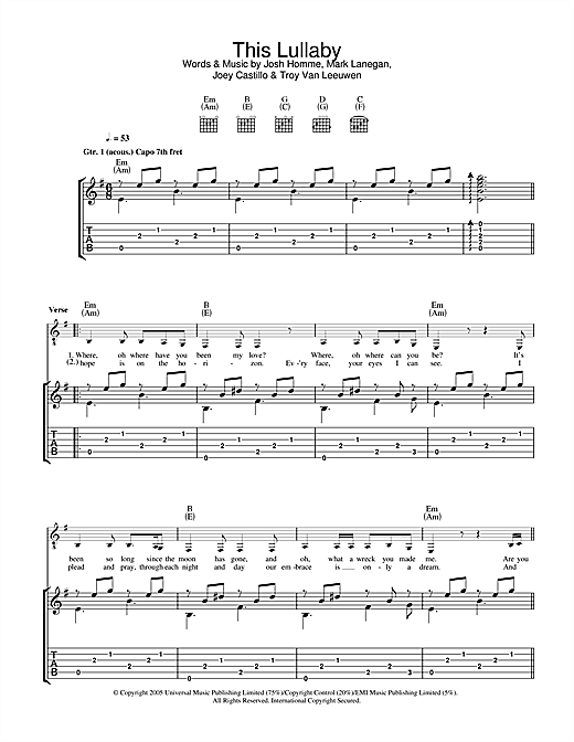 Queens Of The Stone Age This Lullaby sheet music notes and chords. Download Printable PDF.