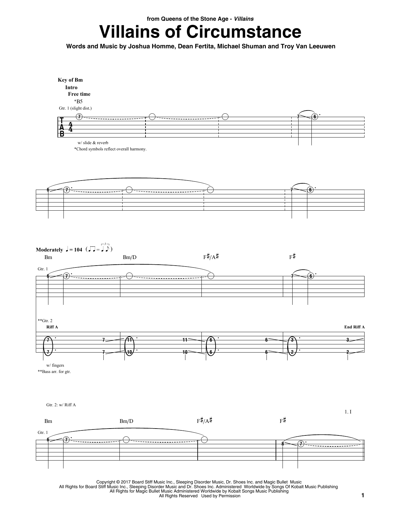 Queens Of The Stone Age Villains Of Circumstance sheet music notes and chords. Download Printable PDF.