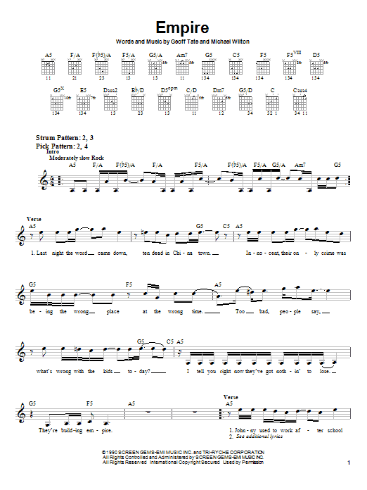 Queensryche Empire sheet music notes and chords. Download Printable PDF.
