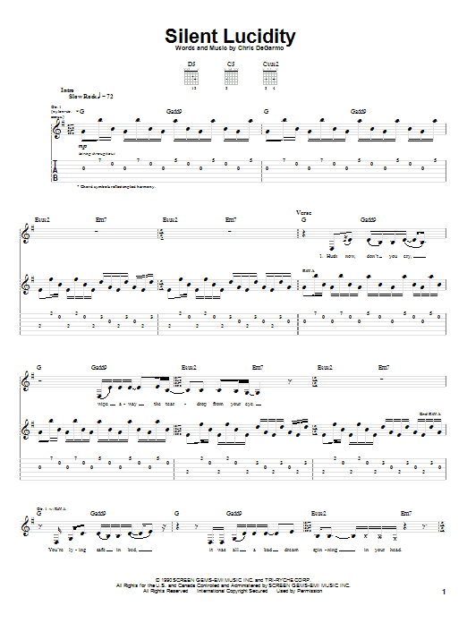 Queensryche Silent Lucidity sheet music notes and chords
