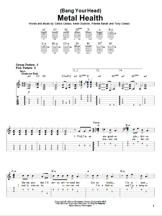 Quiet Riot (Bang Your Head) Metal Health sheet music notes and chords. Download Printable PDF.