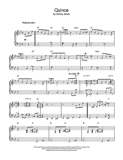 Quincy Jones Quince sheet music notes and chords