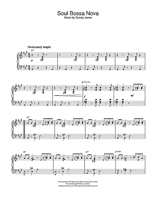 Quincy Jones Soul Bossa Nova sheet music notes and chords. Download Printable PDF.