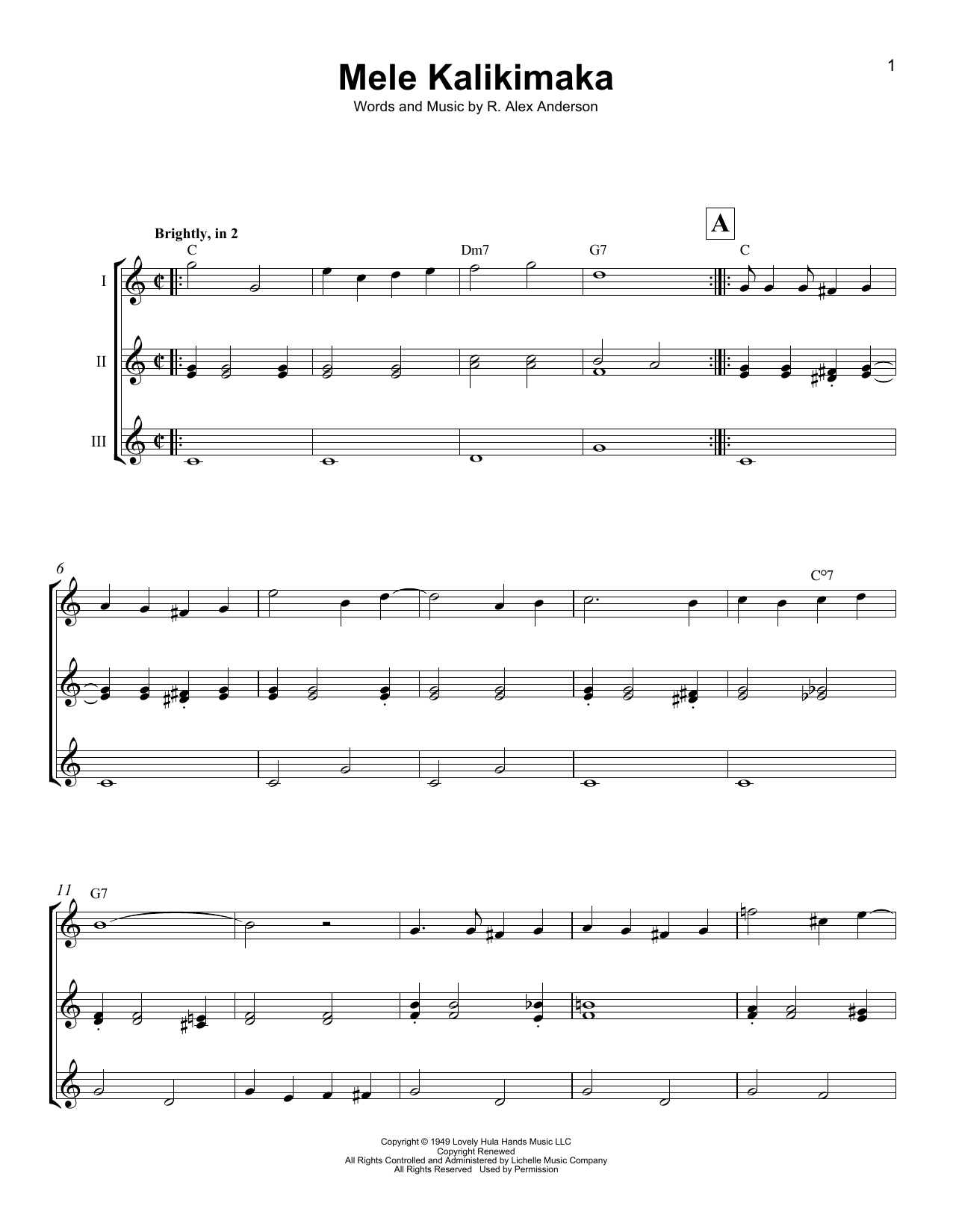 R. Alex Anderson Mele Kalikimaka sheet music notes and chords. Download Printable PDF.