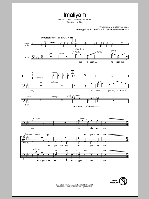 Traditional Folksong Imaliyam (arr. R. Douglas Helvering) sheet music notes and chords. Download Printable PDF.