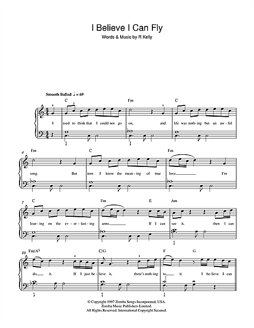 R. Kelly I Believe I Can Fly sheet music notes and chords. Download Printable PDF.