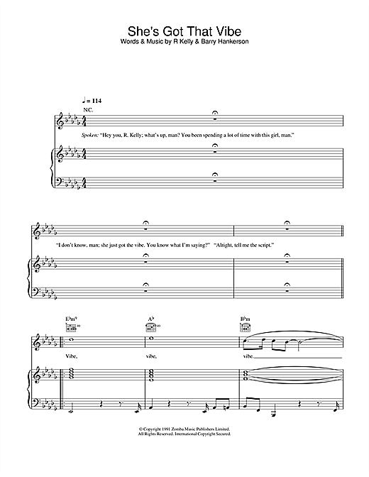 R. Kelly She's Got That Vibe sheet music notes and chords
