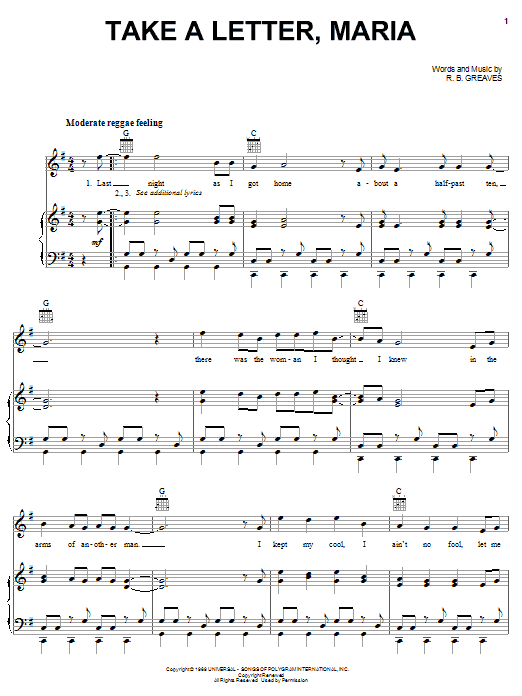 R.B. Greaves Take A Letter, Maria sheet music notes and chords. Download Printable PDF.