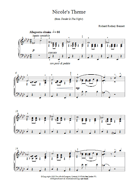 Richard Rodney Bennett Nicole's Theme sheet music notes and chords. Download Printable PDF.