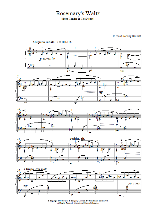 Richard Rodney Bennett Rosemary's Waltz sheet music notes and chords. Download Printable PDF.