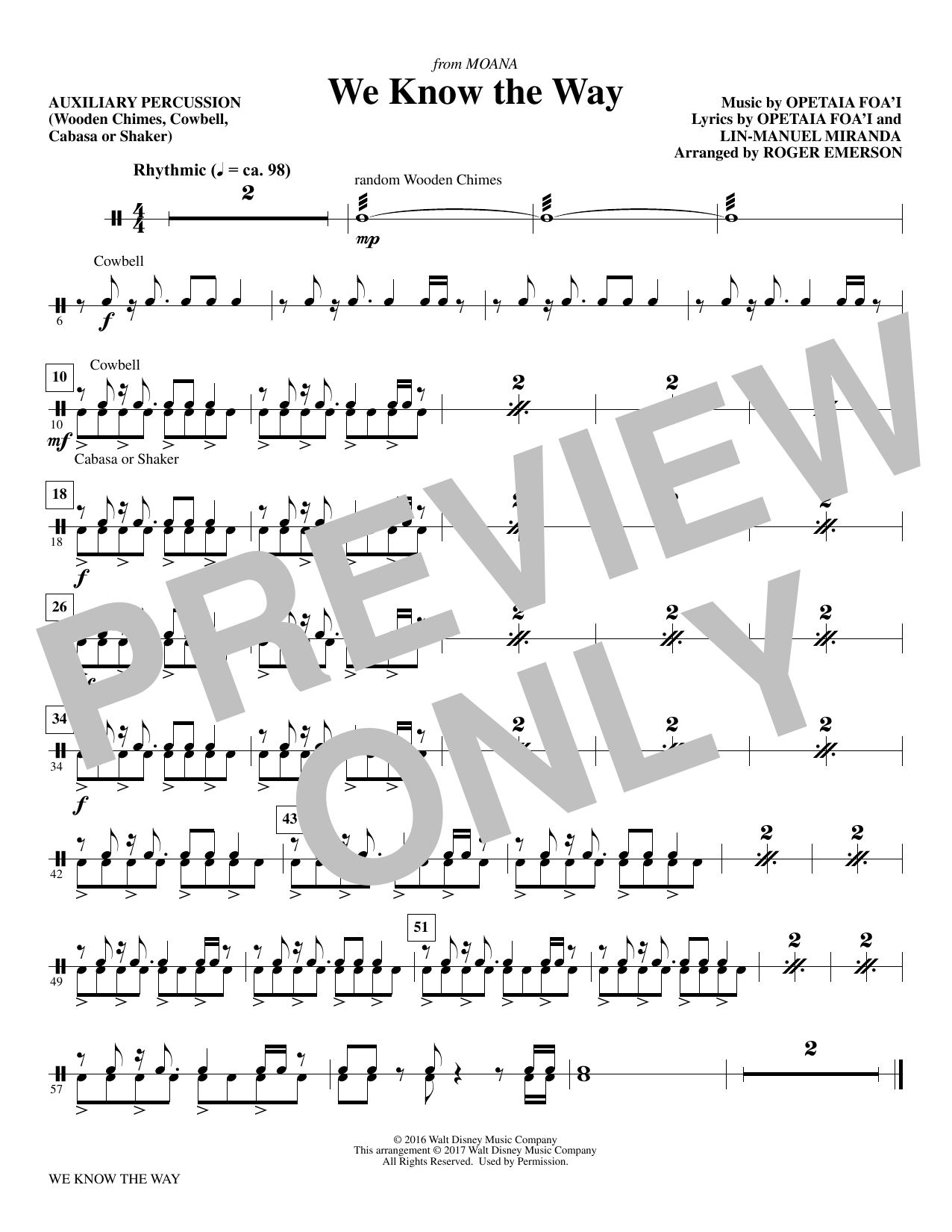 R Emerson We Know The Way (from Moana) - Aux. Percussion sheet music notes and chords. Download Printable PDF.