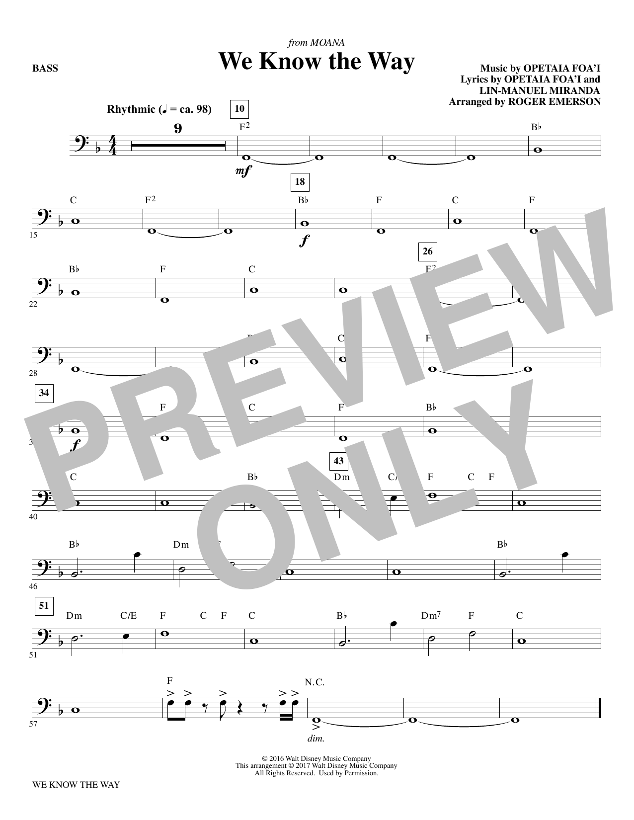 R Emerson We Know The Way (from Moana) - Bass sheet music notes and chords. Download Printable PDF.