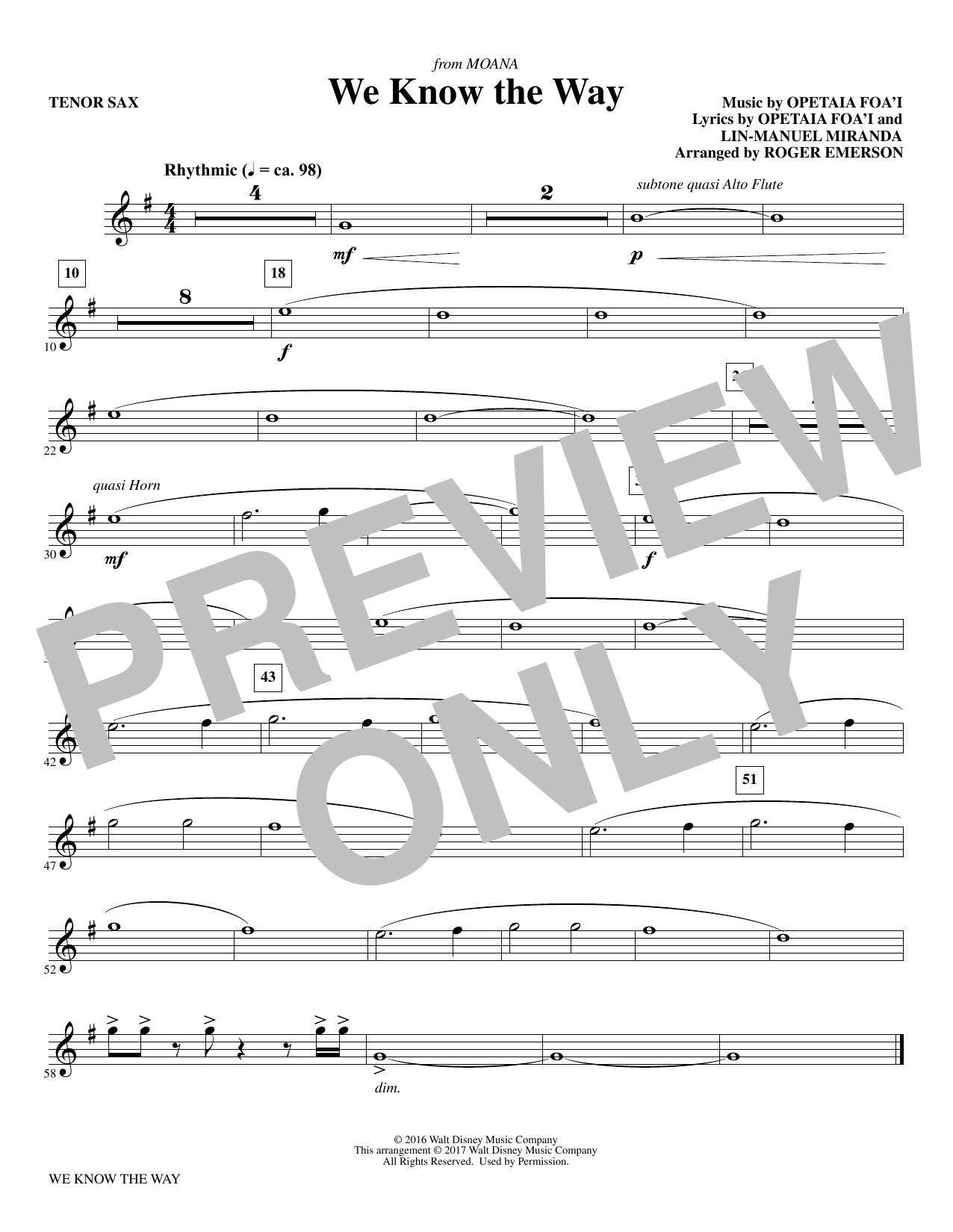 R Emerson We Know The Way (from Moana) - Bb Tenor Saxophone sheet music notes and chords. Download Printable PDF.