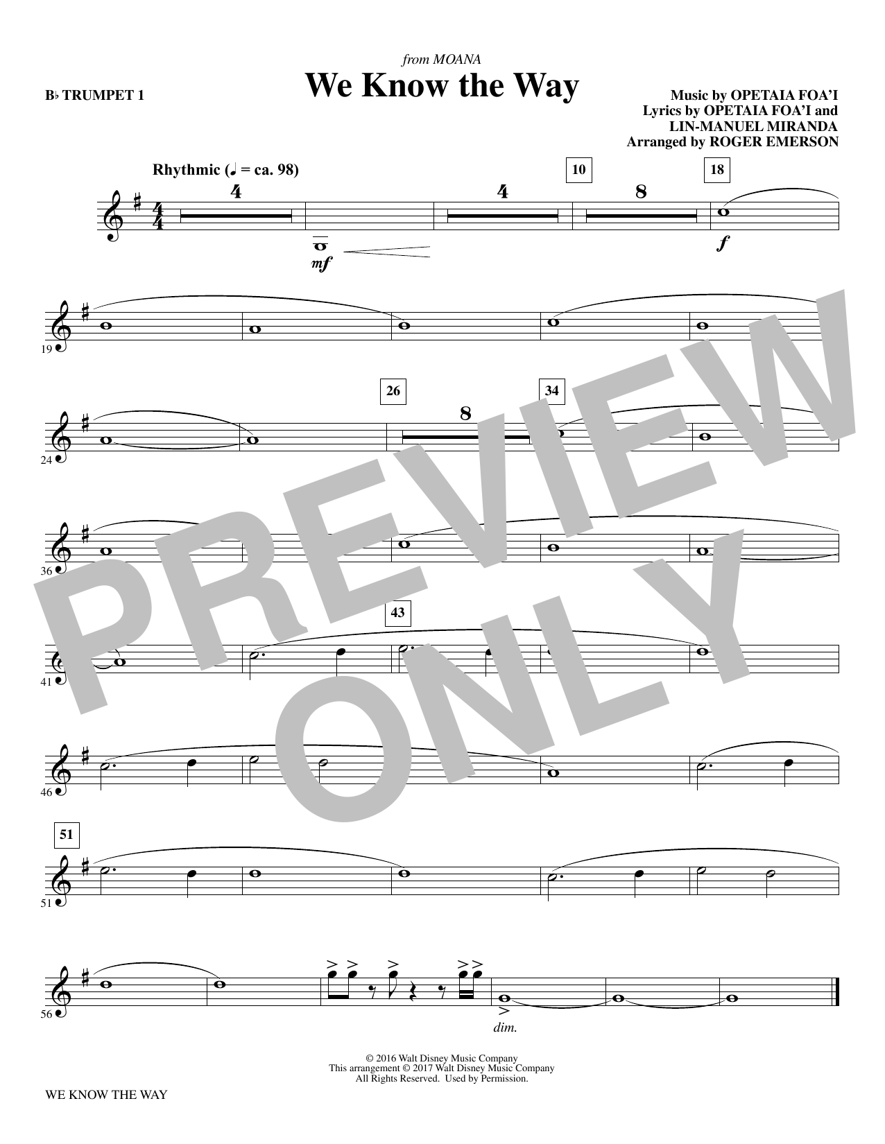 R Emerson We Know The Way (from Moana) - Bb Trumpet 1 sheet music notes and chords. Download Printable PDF.