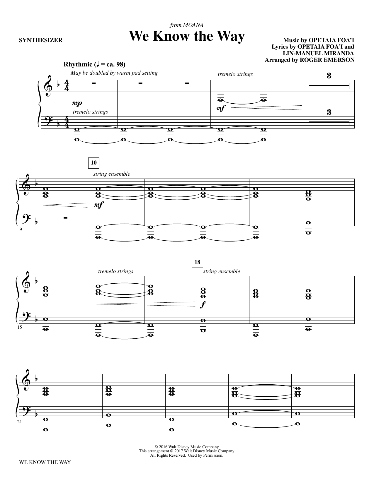 R Emerson We Know The Way (from Moana) - Synthesizer sheet music notes and chords. Download Printable PDF.
