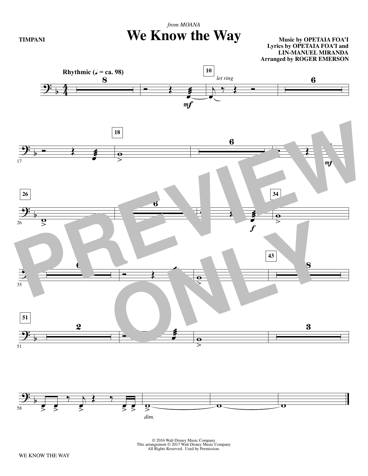 R Emerson We Know The Way (from Moana) - Timpani sheet music notes and chords. Download Printable PDF.