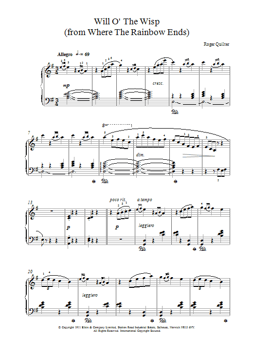 Roger Quilter Will O The Wisp sheet music notes and chords. Download Printable PDF.