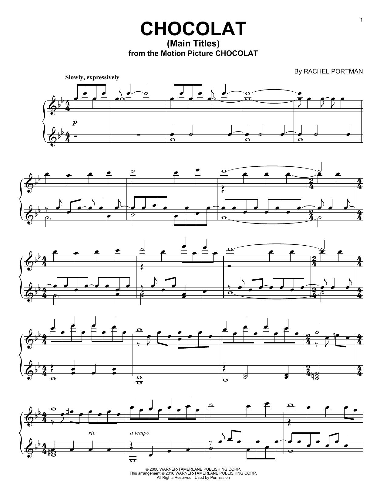 Rachel Portman Chocolat (Main Titles) sheet music notes and chords