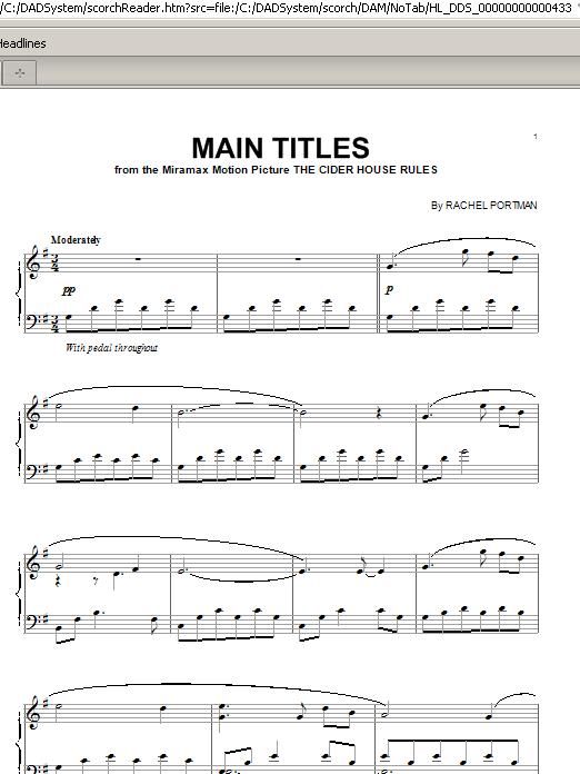 Rachel Portman Main Titles from The Cider House Rules sheet music notes and chords