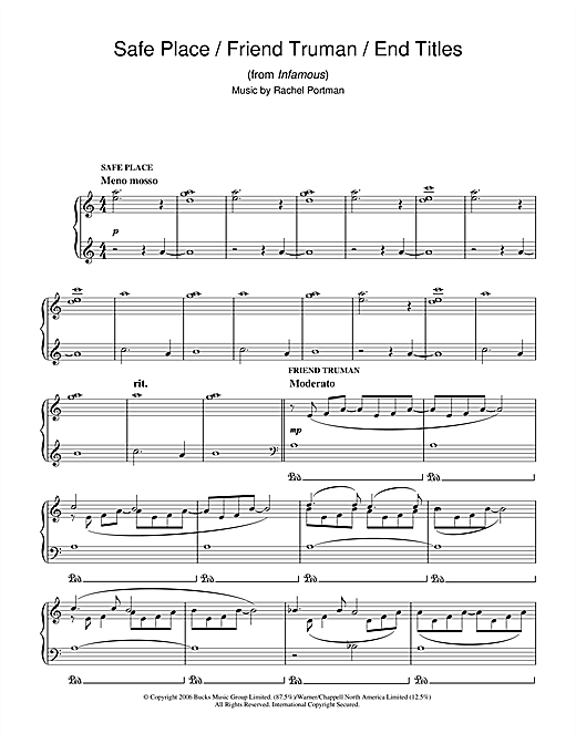 Rachel Portman Safe Place/Friend Truman/End Titles (from Infamous) sheet music notes and chords