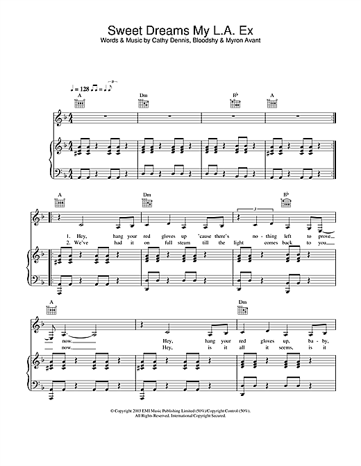 Rachel Stevens Sweet Dreams My L.A. Ex sheet music notes and chords. Download Printable PDF.