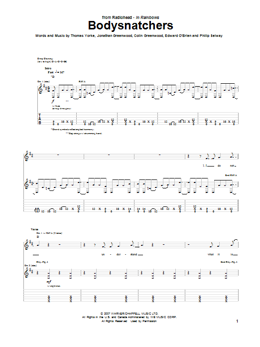 Radiohead Bodysnatchers sheet music notes and chords