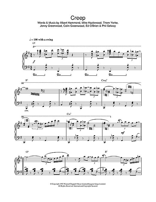 Radiohead Creep (jazz version) sheet music notes and chords