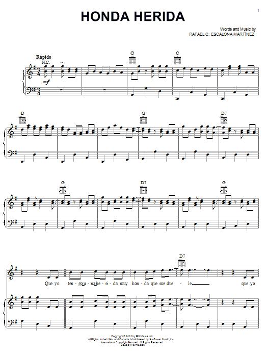 Rafael C. Escalona Martinez Honda Herida sheet music notes and chords. Download Printable PDF.