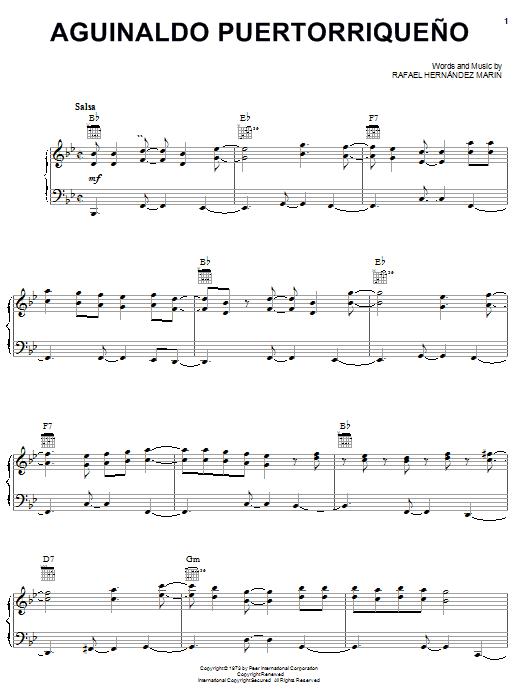 Rafael Hernandez Marin Aguinaldo Puertorriqueno sheet music notes and chords