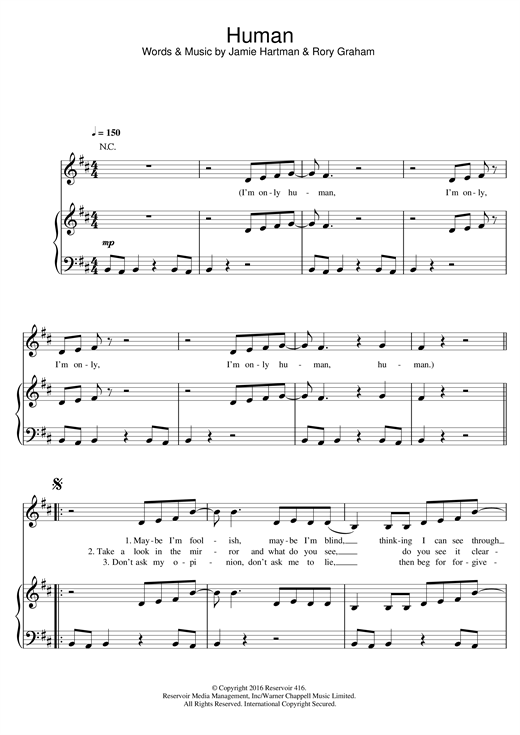 Rag'n'Bone Man Human sheet music notes and chords. Download Printable PDF.