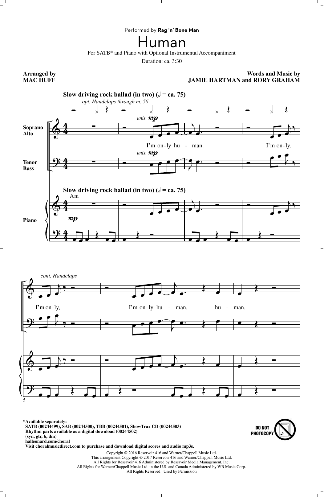Rag'n'Bone Man Human (arr. Mac Huff) sheet music notes and chords. Download Printable PDF.