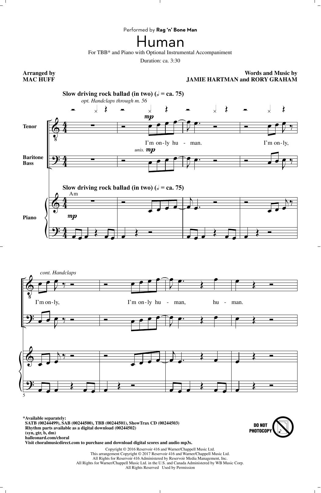 Rag'n'Bone Man Human (arr. Mac Huff) sheet music notes and chords. Download Printable PDF.