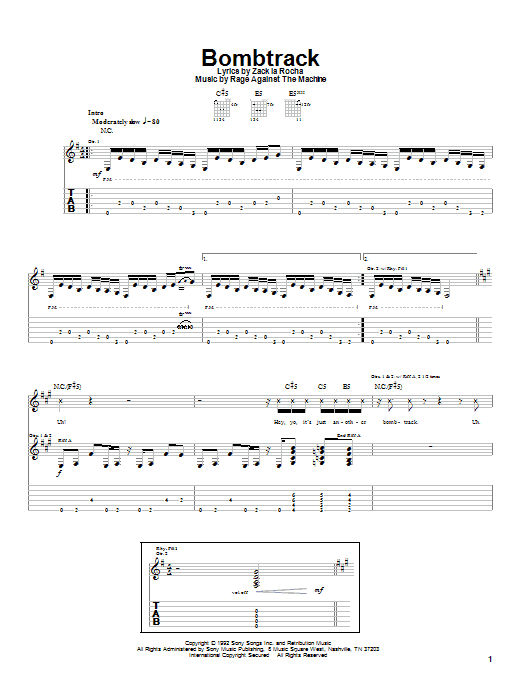 Rage Against The Machine Bombtrack sheet music notes and chords