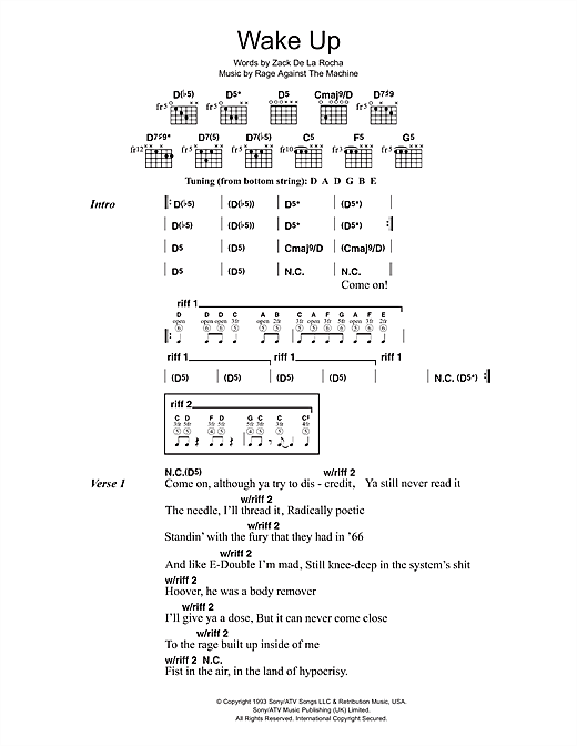 Rage Against The Machine Wake Up sheet music notes and chords. Download Printable PDF.