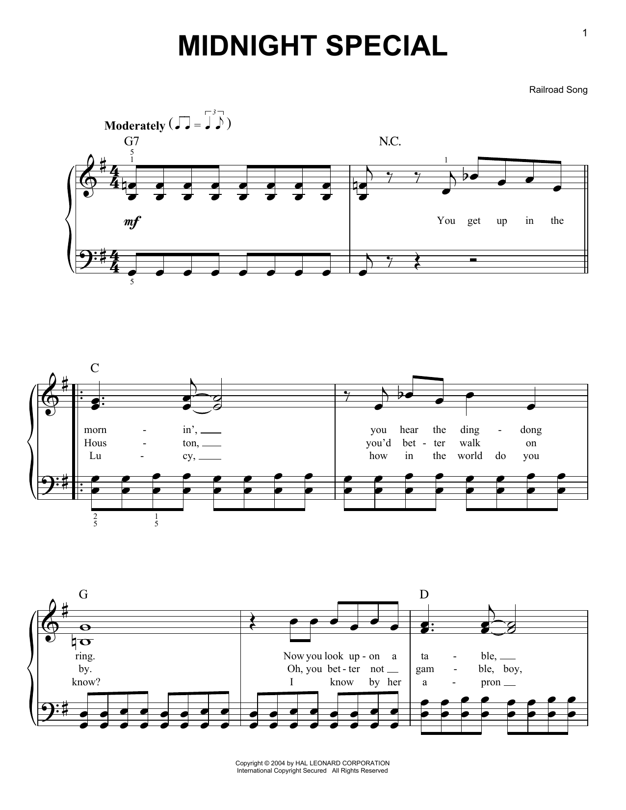 Railroad Song Midnight Special sheet music notes and chords. Download Printable PDF.