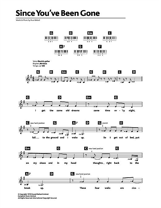 Rainbow Since You've Been Gone sheet music notes and chords. Download Printable PDF.