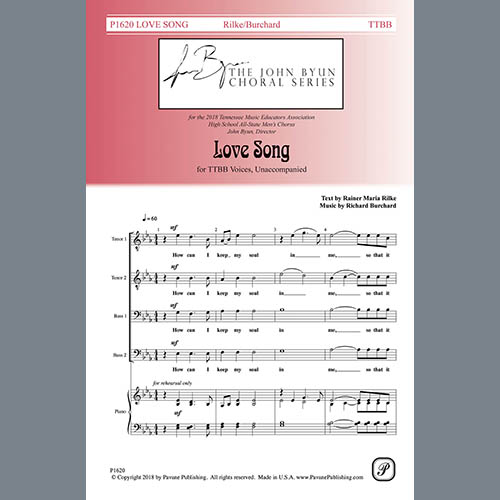 Easily Download Rainer Maria Rilke Printable PDF piano music notes, guitar tabs for TTBB Choir. Transpose or transcribe this score in no time - Learn how to play song progression.